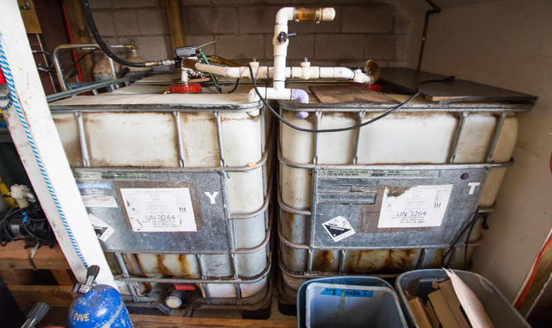 Two biofuel holding tanks to fuel the dive boat.
