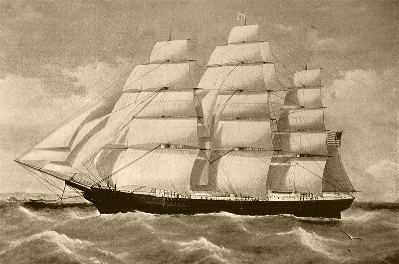 The Noonday a medium clipper ship of 1,177-tons was built in Portsmouth, N.H. in 1855. On Januar 1, 1863, the vessel struck a rock off the Farallon Islands and foundered.  Photo credit: Old Sailing Ships of New England.