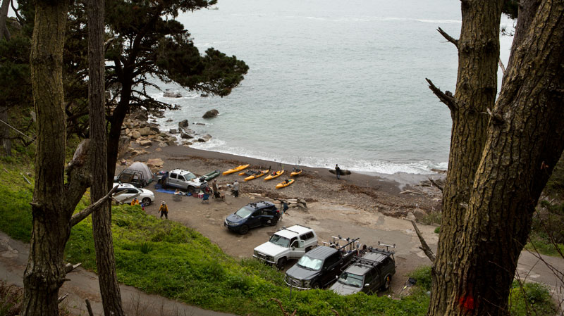 Abalone divers and spear fishermen at Timber Cove, Sonoma County