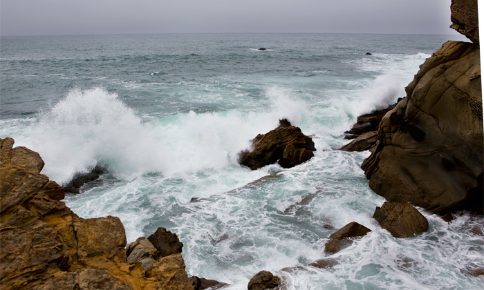 Rough water conditions at Gerstle Cove on Saturday.
