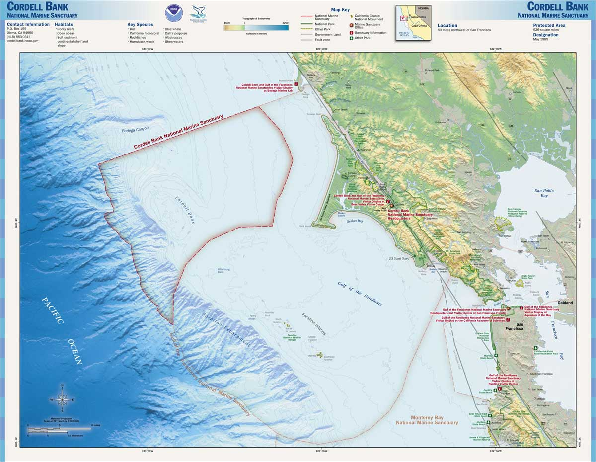 Map of the Farallones and Cordell Bank National Marine Sanctuaries.