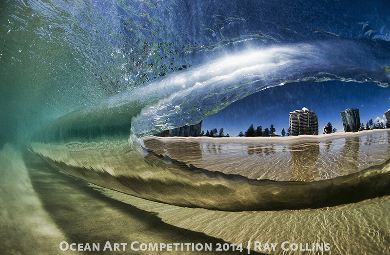 """Best of Show, 2014. 1st Place Wide-Angle. Photo by Ray Collins """"Underwater - Kirra Point"""". Shot at Kirra Point, Australia with Nikon D4. (Click to enlarge)"""