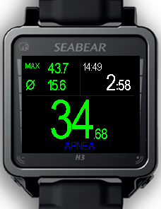 The apnea screen is similar to the screen in the bottom timer mode. In this example it shows 34.6m current depth, 43.7m maximum depth, 15.6m average depth and 2.58 min dive time.