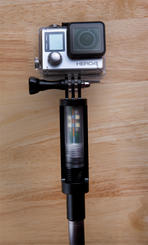 The Brytor light with GoPro camera attached.