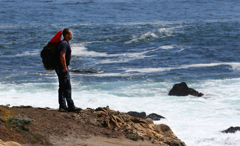 A Lifeguard watches over divers at Salt Point State Park.