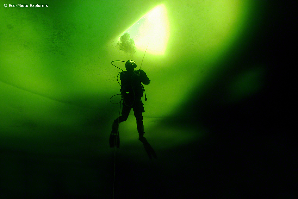 Divers enter and exit through the hole in the ice surface.