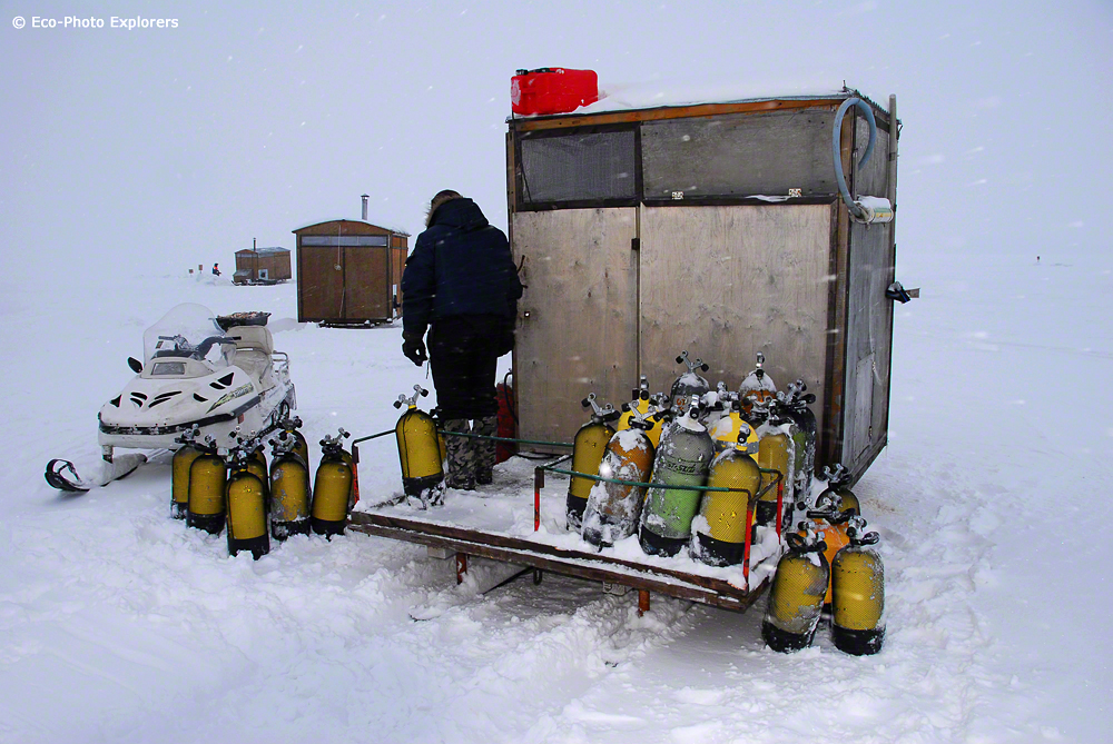 Dive tank filling station at the White Sea Base Camp.