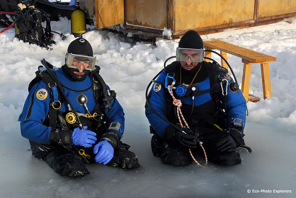 Authors (Chris Weaver, Mike Salvarezza) prepare to take the icy plunge under in the White Sea.
