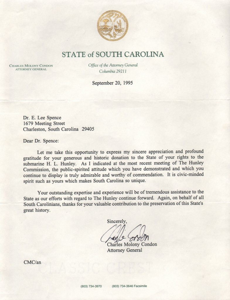 Letter from S.C. Attorney General thanking Dr. Spence for donation to the State of his rights to the Hunley. From the private archives of Dr. Spence. (Click to see larger)