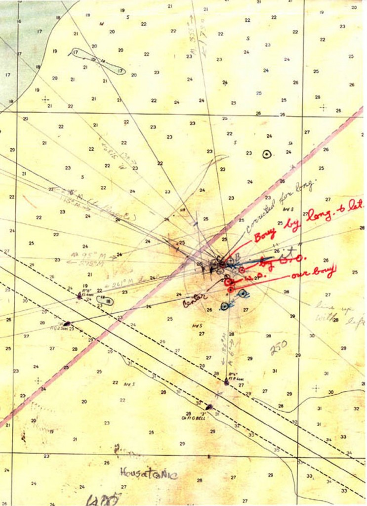 "NOAA chart 11521 annotated by Dr. Spence. Note the word ""It"" with an arrow pointing to an ""X"" marking the Hunley's correct location. © 1979 by Dr. E. Lee Spence. (Click to see larger)"