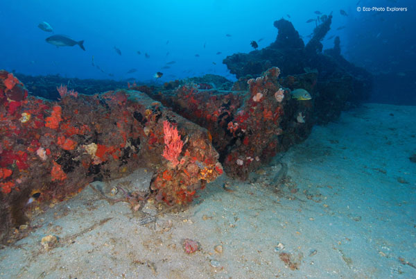 The remains of the ship's midsection.