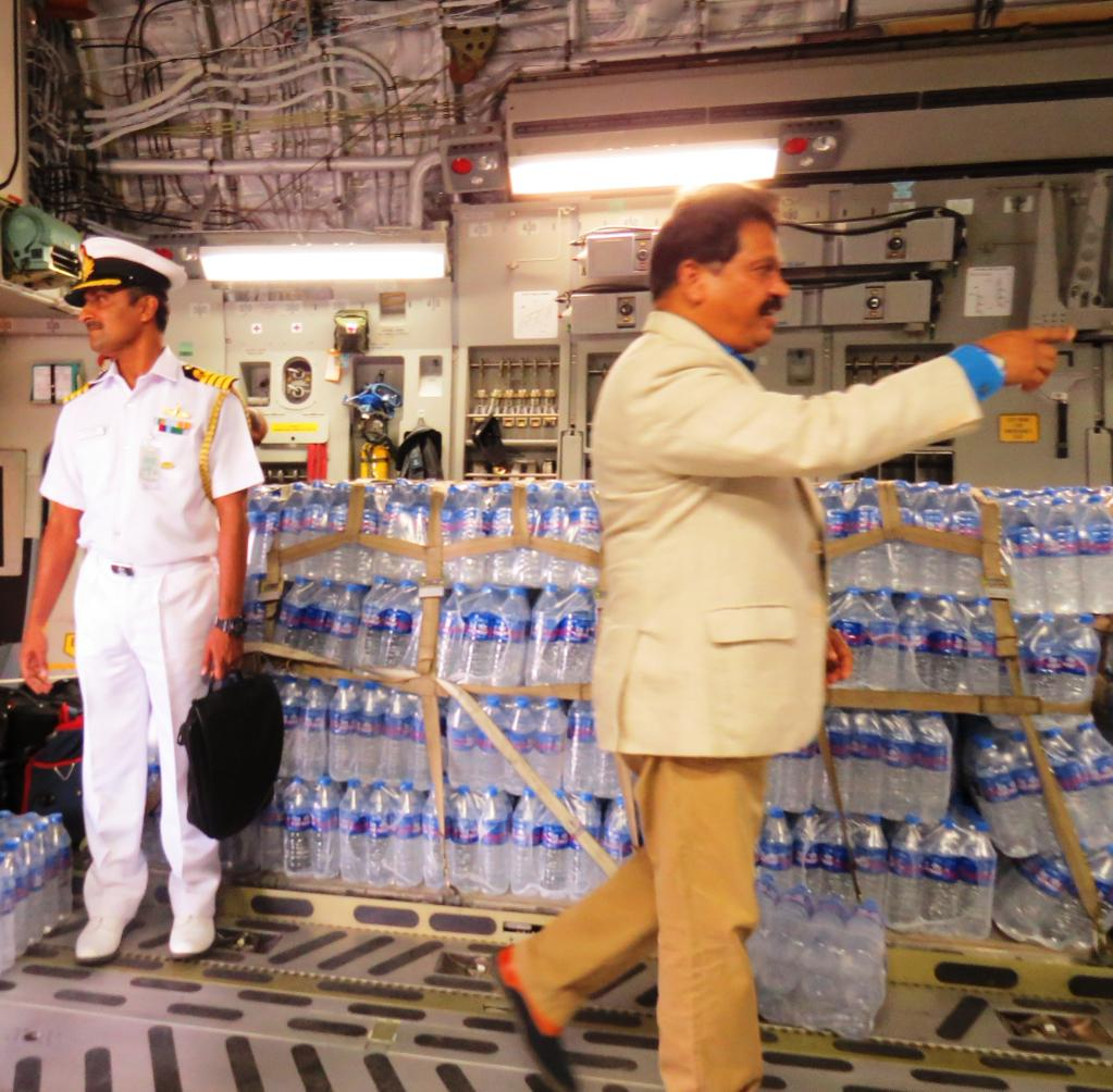 Bottled water in C-17 transport aircraft in Maldives.