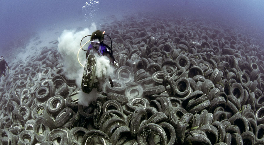 Tires in Ft. Lauderdale, Florida, dumped in the 1970s in an attempt to establish an artificial reef. Photo: Steve Spring/Marine Photobank.