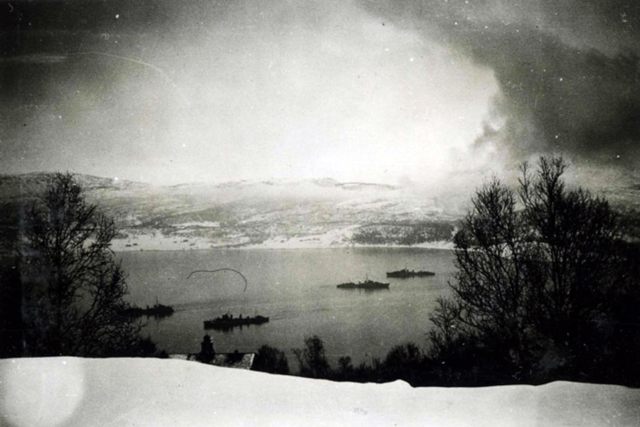 A British ship outside Narvik, involved in the second sea battle. Source: Narvik War Museum