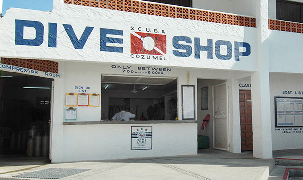 The dive shop at Scuba Club Cozumel