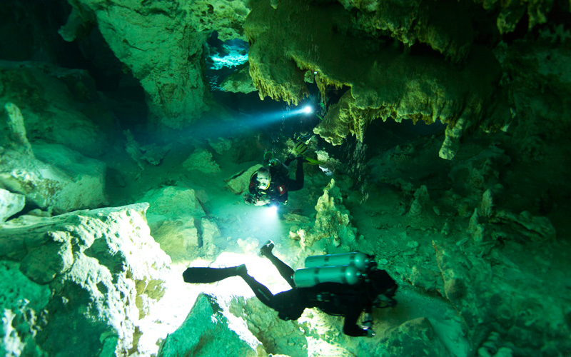 Beginning our dive in the cenote