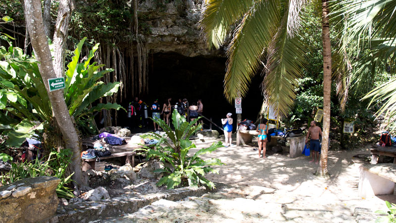 The entrance to the cenote at Dos Ojos.