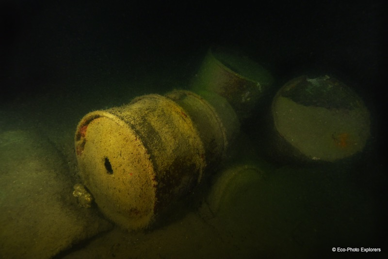Barrels from inside the Olympia Maru