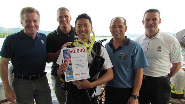 Newly certified PADI Open Water Diver Felix Tam is the recipient of the 150,000th certification