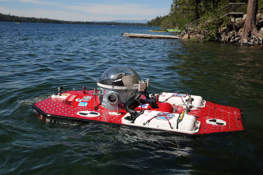 "The Undersea Voyager Project's submarine ""Spots"" prepares for another dive at Fallen Leaf Lake"