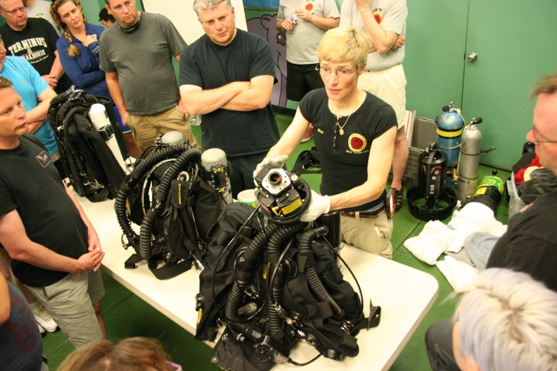 Mel started the show and tell section by dissecting an ISC Megalodon APECS 2.07 rebreather (www.megccr.com) with OTSCL (over the shoulder counterlungs). Though it's an older model, the Meg APECS is an excellent unit and is commonly found on the used market at good prices.