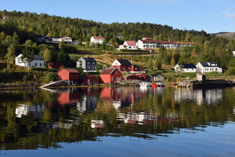 The Norwegian countryside along the shores of a fjord