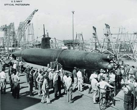 Mini submarine HA-19 (similar to the mini submarine sunk by the USS Ward), readied for its national war bond sales tour, is unveiled at Mare Island Naval Shipyard. Credit: U.S. Navy
