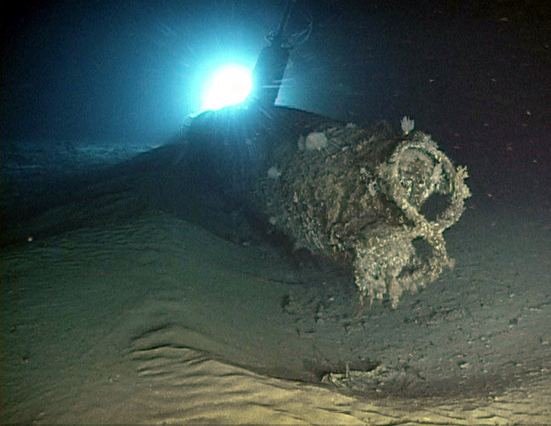 The bow of the Ward mini submarine at the time of the discovery in 2002. Credit: University of Hawaii/HURL