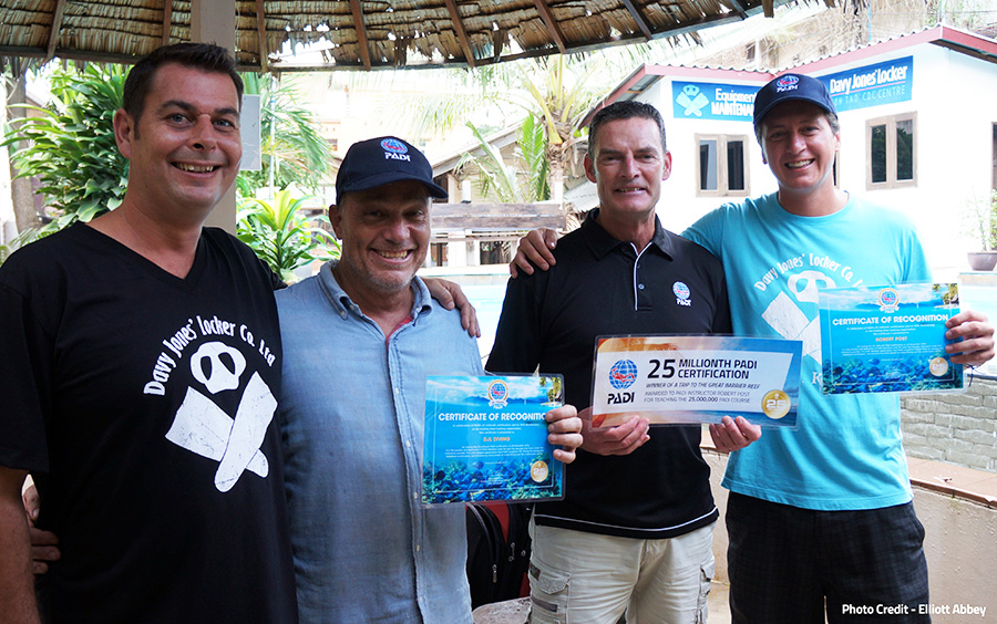The team at Davy Jones Locker celebrates PADI's 25 millionth certification